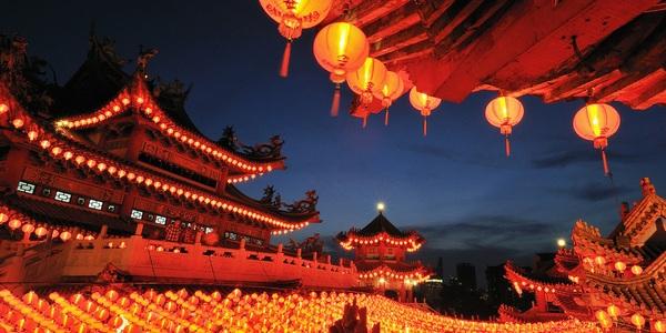 Kuala Lumpur, Malaysia --- Paper Lanterns at Thean Hou Temple --- Image by © Chan Shu Kai/Corbis