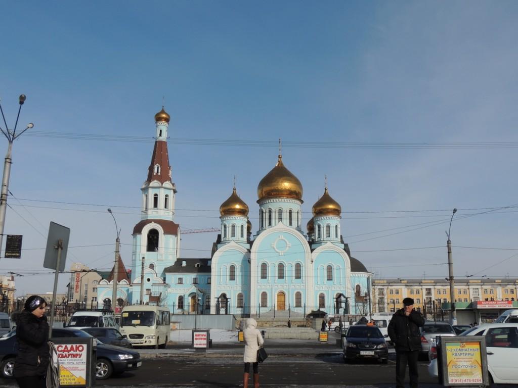 Собор Казанской иконы Божией матери в г. Чита - прямо на привокзальной площади.
