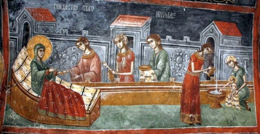 Рождество свт. Николая. Средневековая сербская фреска